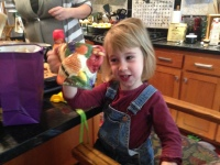 Then we exchanged them for this spectacular turkey mug at a swap. Evelyn was in love.